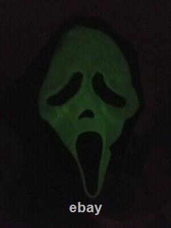 Vtg Scream Ghostface Masque Latex Fun World DIV Rare Glow Faces Cotton Shroud Mint